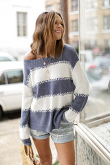 Oversized Striped Knit Sweater Front View