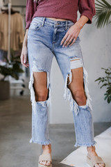 Medium Wash - Distressed Boyfriend Jeans