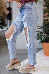 Distressed Boyfriend Jeans Side View