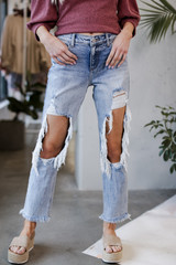 Distressed Boyfriend Jeans Front View