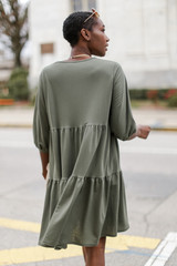 Tiered Babydoll Dress in Olive Back View