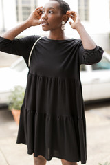 Black - Tiered Babydoll Dress from Dress Up