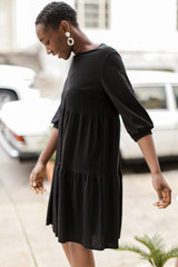Tiered Babydoll Dress in Black Side View