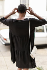 Tiered Babydoll Dress in Black Back View