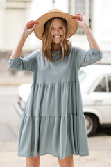 Denim - Tiered Babydoll Dress Front View