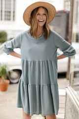 Tiered Babydoll Dress in Denim Front View