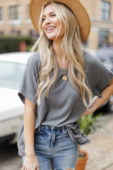 Grey - Oversized Ribbed Knit Tee from Dress Up