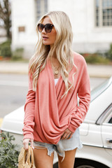 Coral - Brushed Knit Surplice Top