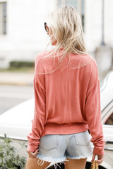 Brushed Knit Surplice Top Back View