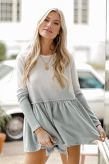 Sage - Brushed Knit Ombre Peplum Top