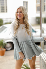 Sage - Brushed Knit Ombre Peplum Top from Dress Up