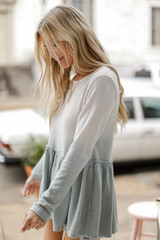 Brushed Knit Ombre Peplum Top in Sage Side View