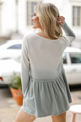 Brushed Knit Ombre Peplum Top in Sage Back View