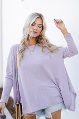 Lavender - Model wearing a Swing Top with denim shorts