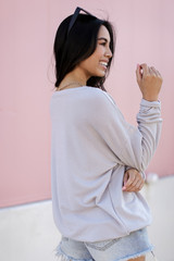 Pullover in Grey Back View