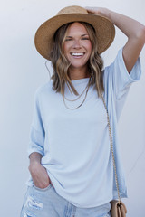 Mint - Model wearing a Terry Tee with a straw hat