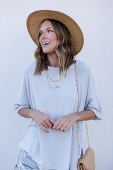 Mint - Dress Up model wearing a Terry Tee with a straw hat