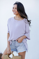 Terry Tee in Lavender Side View