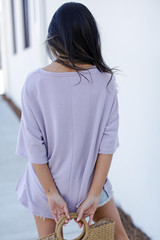 Terry Tee in Lavender Back View