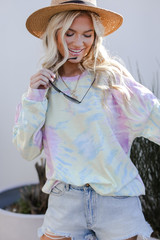 Tie-Dye Cutout Pullover Front View