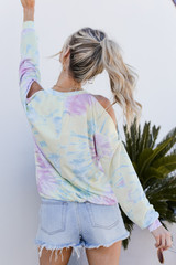 Tie-Dye Cutout Pullover Back View