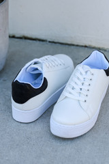 Close Up of Platform Sneakers in white