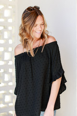 Off-the-Shoulder Top in Black Side View