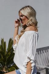 Off-the-Shoulder Top in Ivory Side View