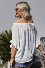 Off-the-Shoulder Top in Ivory Back View