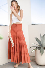 Boho Maxi Skirt in Rust Front View
