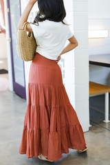 Boho Maxi Skirt in Rust Side View