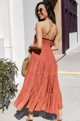 Boho Maxi Skirt in Rust Back View