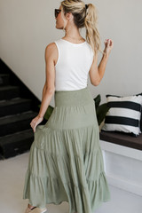 Boho Maxi Skirt in Olive Back View
