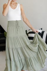 Boho Maxi Skirt in Olive Front View