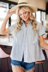 Black - Babydoll Button Up