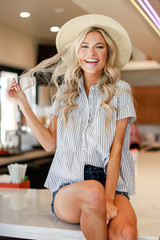 Dress Up model wearing a Striped Babydoll Button Up