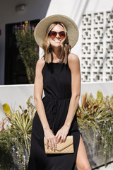 T-Shirt Maxi Dress in Black Front View