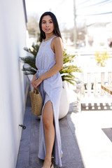 T-Shirt Maxi Dress in Grey Side View