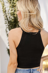 High Neck Tank in Black Back View