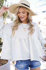 Heather Grey - Beach Happy Babydoll Pullover from Dress Up