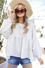 Heather Grey - Model wearing the Beach Happy Babydoll Pullover
