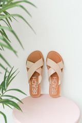 Flat Lay of Pebble Slide Sandals  by MATISSE FOOTWEAR