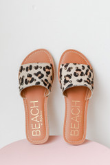 Leopard Slide Sandals Front View by MATISSE FOOTWEAR