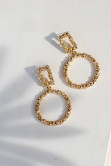 Gold - Textured Drop Earrings from Dress Up