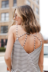 White - Model wearing a Flowy Fit Tank Back View