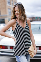Flowy Fit Tank in Black Side View