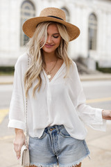 White - Linen Top from Dress Up