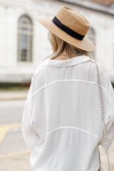 Linen Top in White Back View