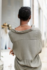 Linen Top in Olive Back View