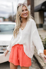 Coral - Model wearing Linen Shorts